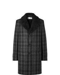 Abrigo con cuello de piel a cuadros en gris oscuro de Saint Laurent