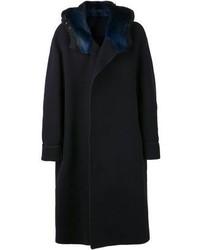 Abrigo con cuello de piel azul marino
