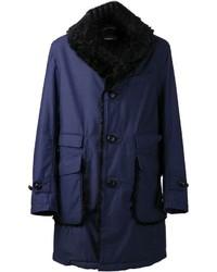 Abrigo con cuello de piel azul marino de Engineered Garments