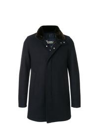 Abrigo con cuello de piel azul marino de Herno