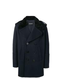 Abrigo con cuello de piel azul marino de Neil Barrett