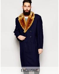 Abrigo con cuello de piel azul marino de Reclaimed Vintage