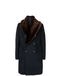 Abrigo con cuello de piel azul marino de Tagliatore