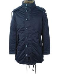 Abrigo con cuello de piel azul