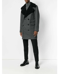 Abrigo con cuello de piel en gris oscuro de DSQUARED2