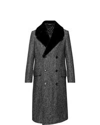 Abrigo con cuello de piel en gris oscuro de Dunhill
