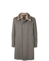Abrigo con cuello de piel gris de Corneliani
