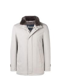 Abrigo con cuello de piel gris de Herno