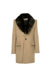 Abrigo con cuello de piel marrón claro de Yves Salomon Homme
