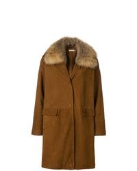 Abrigo con cuello de piel marrón de P.A.R.O.S.H.