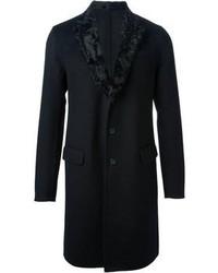 Abrigo con cuello de piel negro