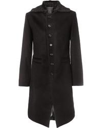 Abrigo con cuello de piel negro de Ann Demeulemeester
