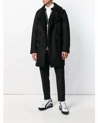 Abrigo con cuello de piel negro de DSQUARED2