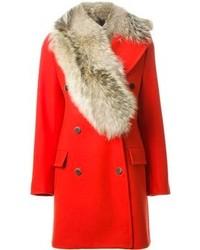 Abrigo con cuello de piel rojo de MSGM