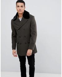 Abrigo con cuello de piel verde oscuro