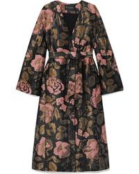 Abrigo con print de flores negro de Etro
