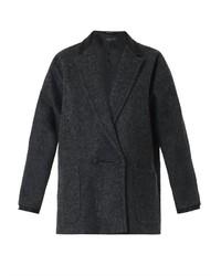 Abrigo de cuero en gris oscuro