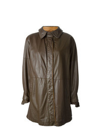 Abrigo de cuero en marrón oscuro