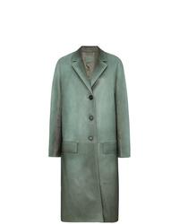 Abrigo de cuero en verde menta de Prada