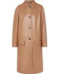 Abrigo de cuero marrón claro de Prada