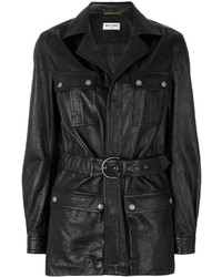 Abrigo de Cuero Negro de Saint Laurent