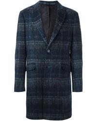 Abrigo de lana a cuadros azul marino de Etro