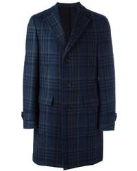 Abrigo de lana a cuadros azul marino de Salvatore Ferragamo