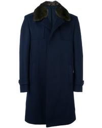 Abrigo de lana azul marino de Fendi