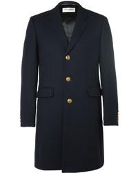 Abrigo de lana azul marino de Saint Laurent