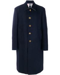 Abrigo de lana con adornos azul marino de Thom Browne
