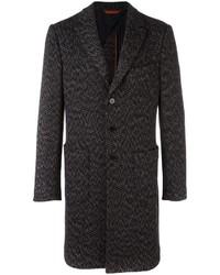 Abrigo de lana en zig zag negro de Missoni