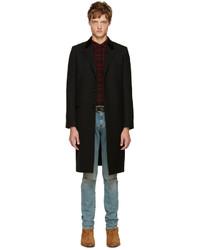 Abrigo de lana negro de Saint Laurent