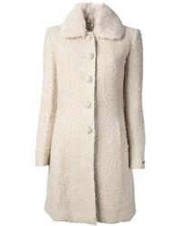 Abrigo de lana rizada blanco