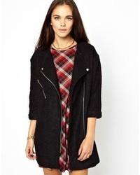 Abrigo de lana rizada negro de Glamorous