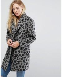 Abrigo de leopardo gris de Glamorous