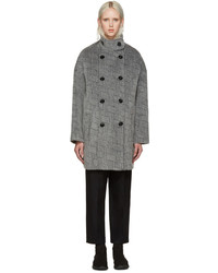 Abrigo de mohair de rayas horizontales gris de Kenzo