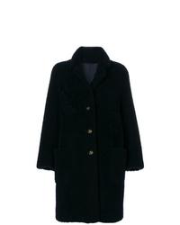 Abrigo de piel azul marino de Thom Browne