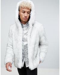 Abrigo de piel blanco de ASOS DESIGN