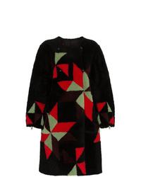 Abrigo de piel con estampado geométrico negro de Isabel Marant