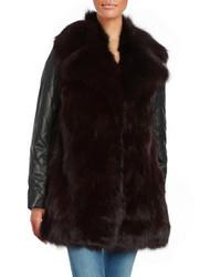 Abrigo de piel de cuero negro