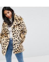 Abrigo de piel de leopardo en beige de Asos