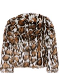 Abrigo de piel de leopardo en marrón oscuro de Moschino