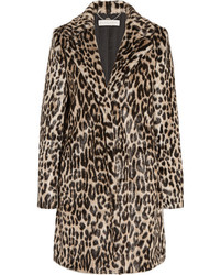 Abrigo de Piel de Leopardo en Marrón Oscuro de Stella McCartney