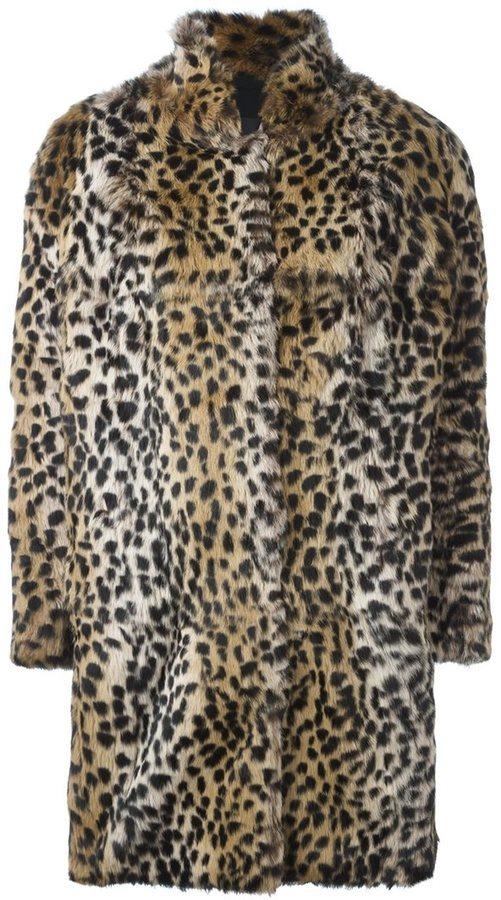 Abrigo de piel de leopardo marrón claro