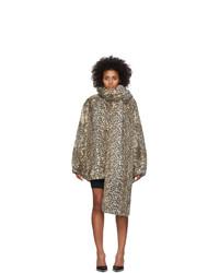 Abrigo de piel de leopardo marrón claro de alexanderwang.t