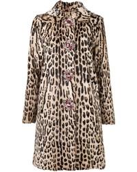 Abrigo de piel de leopardo marrón claro de Blumarine