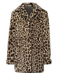 Abrigo de piel de leopardo marrón claro de Miu Miu