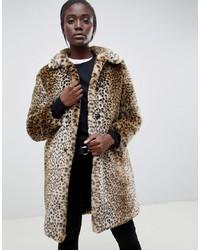 Abrigo de piel de leopardo marrón claro de Parka London