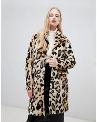 Abrigo de piel de leopardo marrón claro de Vero Moda