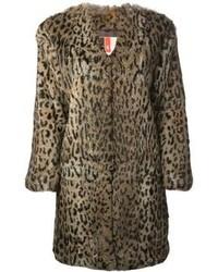 Abrigo de piel de leopardo marrón